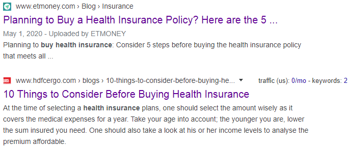 how to buy health insaurance serp results