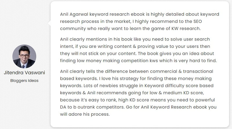 keyword reserach ebook testimonial