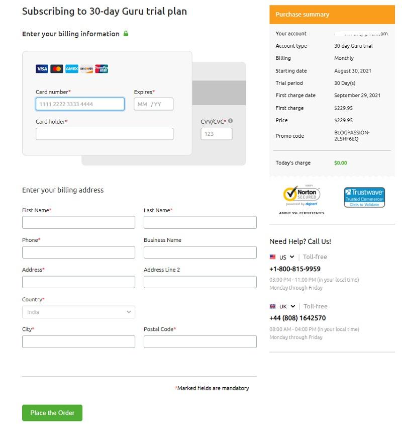 Semrush Guru payment information