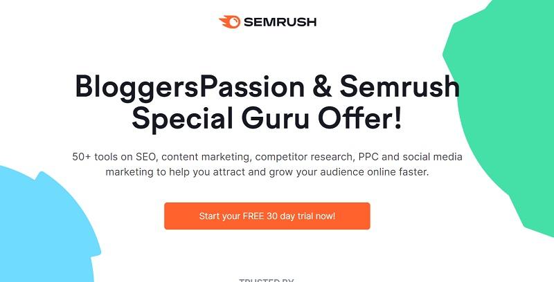 coupon and Semrush Guru free trial