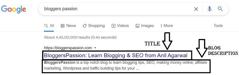 Example of Blog Description